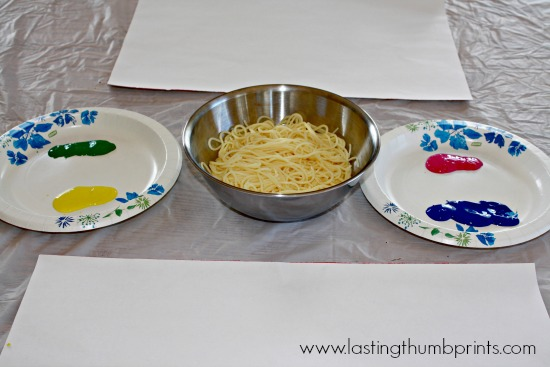 Worm Painting - Art Sensory Experience Using Spaghetti