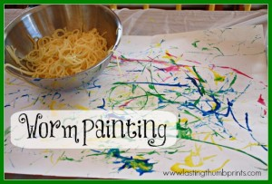 Worm Painting - An Art Sensory Experience with Spaghetti