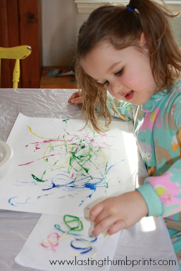 worm painting with spaghetti