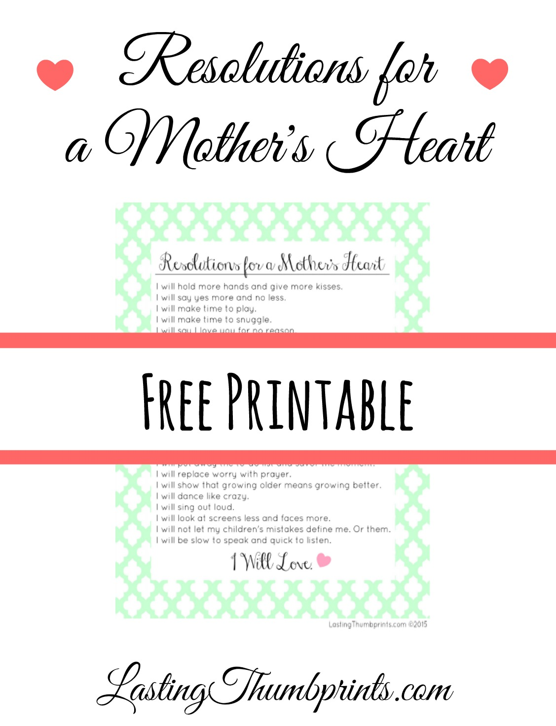 Resolutions for a Mother's Heart - Free Printable!