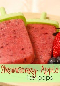 Looking for a healthy but yummy frozen treat? Try these homemade Strawberry Apple Ice Pops. Your whole family will love them!