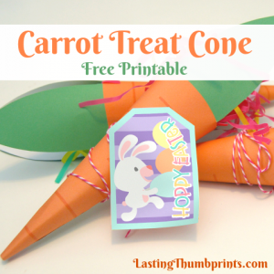 Grab this Free Carrot Treat Cone Printable at Lasting Thumbprints! Perfect for Easter baskets, class parties, and more!