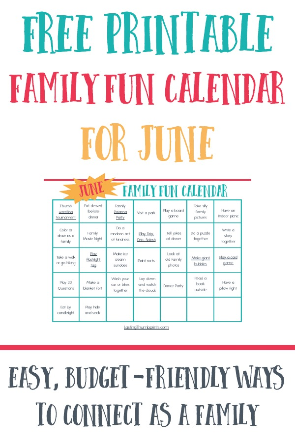 Family Fun Calendar for June - Free Printable