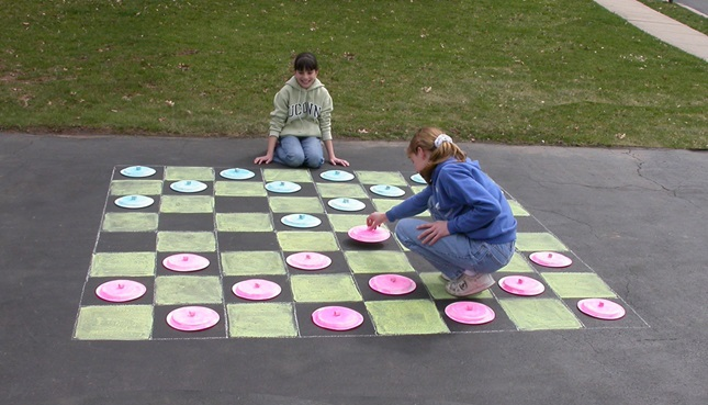 sidewalk chalk checkers