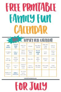 July Family Fun Calendar