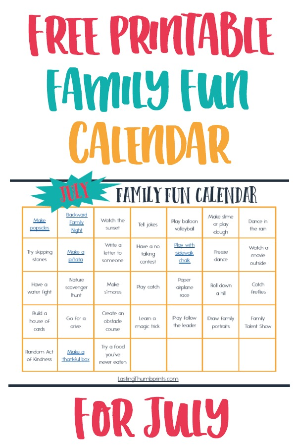 Calendar Ideas For July : July family fun calendar easy affordable ideas