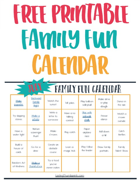 July Family Fun Calendar - Easy & Affordable Ideas!