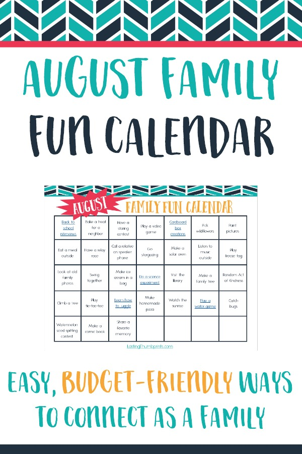 Calendar Ideas Per Month : August family fun calendar free printable