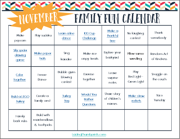 Family Fun Calendar for November