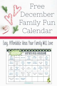 December Family Fun Printable Calendar