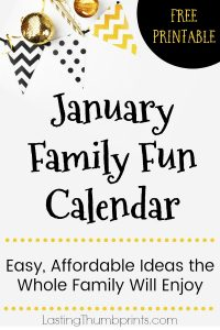 Grab this Free January Family Fun Calendar and start the year off right with your family. Lots of easy and affordabe ideas the whole family will enjoy!